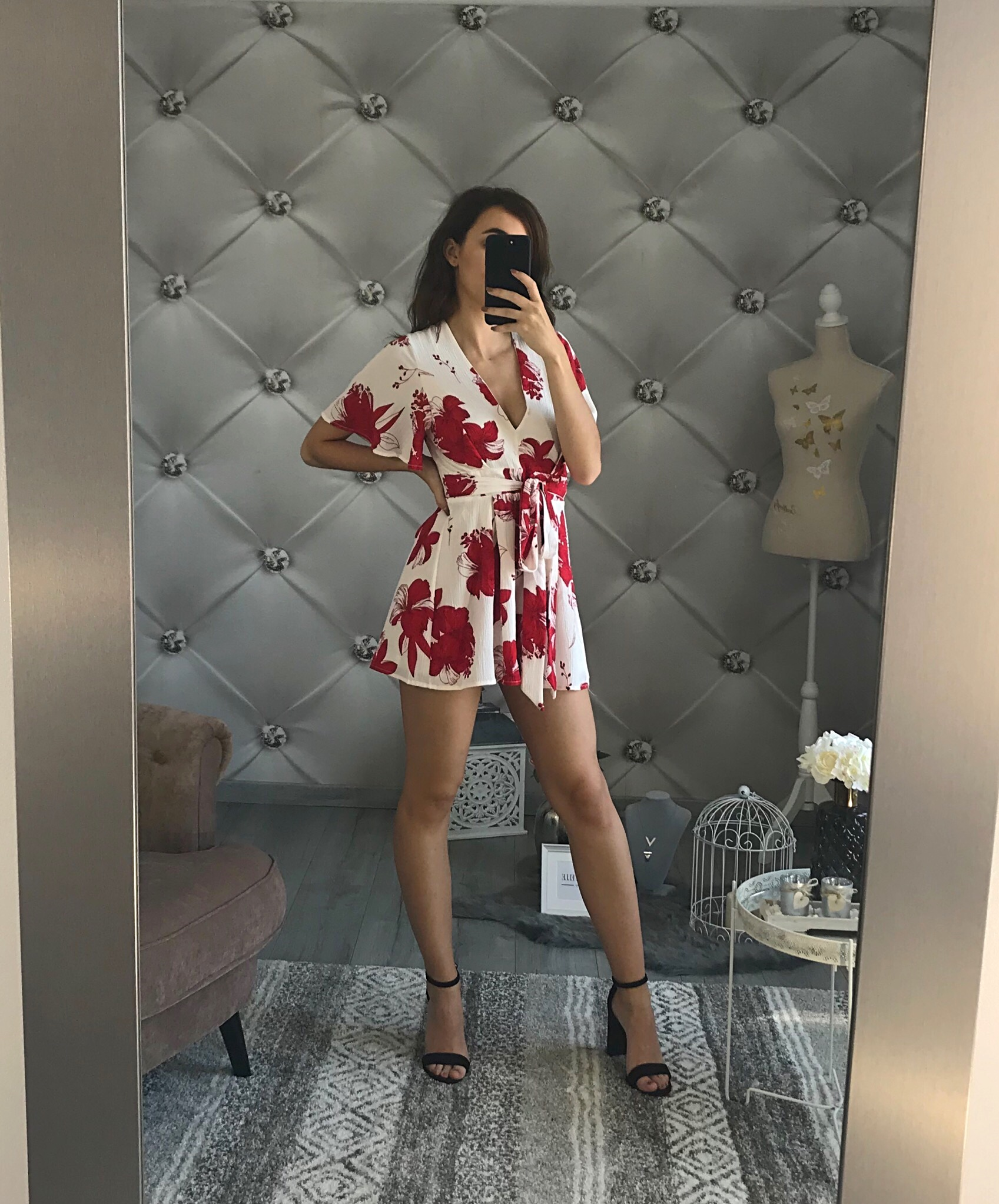 really cheap size 7 top fashion COMBISHORT FLEURI ROUGE ET BLANCHE